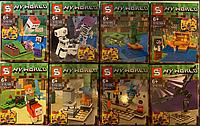 Конструктор Senco  арт  6199 My World 8 Мини Фигурок, Стив, Скелет Алекс, Странник Края, Крипер, Дракон Края.