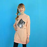 4395пер Детская свитшот-туника для девочки с блястящим карманом тм Viollen размер 10,12,14,16 лет