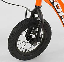 """CR-T7171 Самокат """"Corso"""" колеса надувные 12"""", ручной передний тормоз оранжевый, фото 2"""