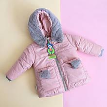 20106 Куртка зимняя на девочку с помпонами Пудра размер 86 см
