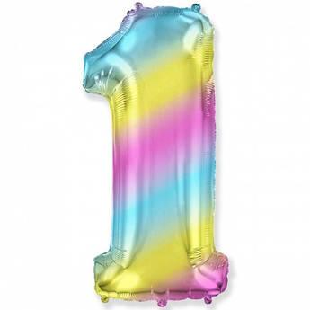 Фольгированный шар цифра 1 Один Разноцветный 102 см