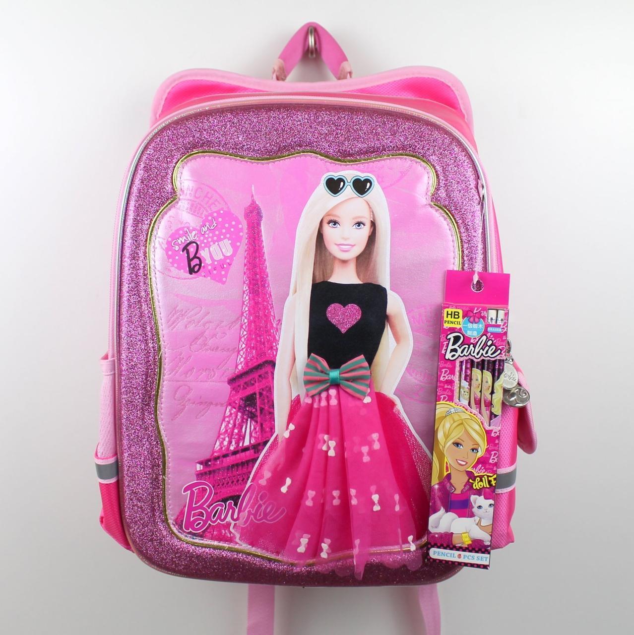 555-498 Рюкзак школьный каркасный Барби для девочки 35х20x40см