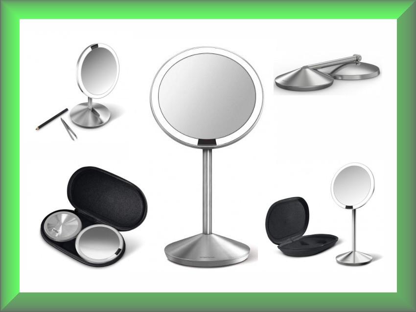 Зеркало сенсорное круглое 12 см на аккумуляторе Mini ST3004 Simplehuman с дорожным чехлом (увеличение 1x10)