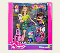 "KM51807 Кукла типа ""Барби""   с куколкой,собакой и аксессуарами,в кор. 35*,32,5*8 см"