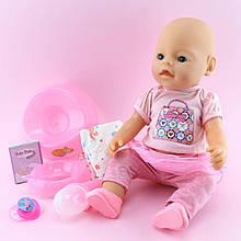 8020-457 Кукла Пупс функциональный 42см, бутылочка, горшок, соска магн, подгузник, тарелка, каша 4шт, пьет-писяет, в кор,33-38-18см