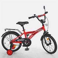 KMT1431 Велосипед детский PROF1 14д.   Racer,красный,звонок,доп.колеса