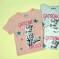 8758 Детская футболка для девочки Котик тм Glo-Story размер 110,120,150,160