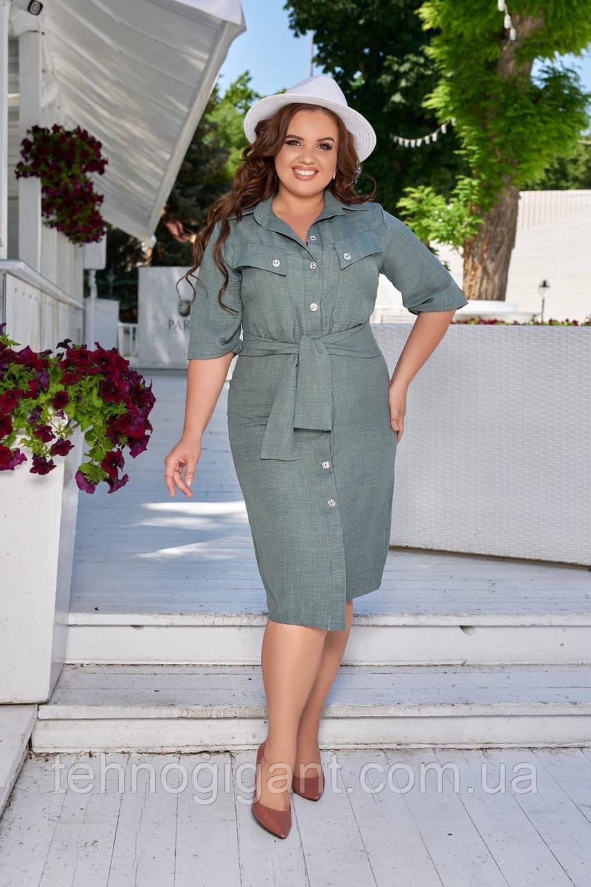 Летнее легкое льняное женское платье большого размера, короткий рукав, платье рубашка 48, 50, 52, 54, Зеленый