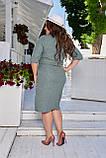 Летнее легкое льняное женское платье большого размера, короткий рукав, платье рубашка 48, 50, 52, 54, Зеленый, фото 3