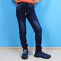58031 Синие джинсы джоггеры для мальчика на резинке с шнурком Seagull  размер 146,164 см