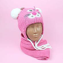 26058 Детский вязаный комплект шапка и шарф на 1-3 года.