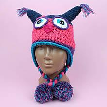 26103 Шапка-ушанка совушки для девочки на флисе 0-3 года