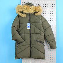 C-05 Куртка зимняя для мальчика зеленая тм TAURUS размер 14,16 лет