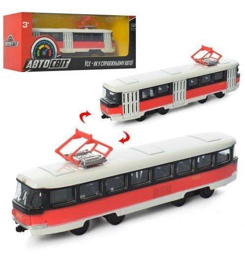 AS-1831 Игрушка Трамвай  АвтоСвіт 1:87,металл,инер-й, 16,5см, в кор-ке,19,5-8-5,5см