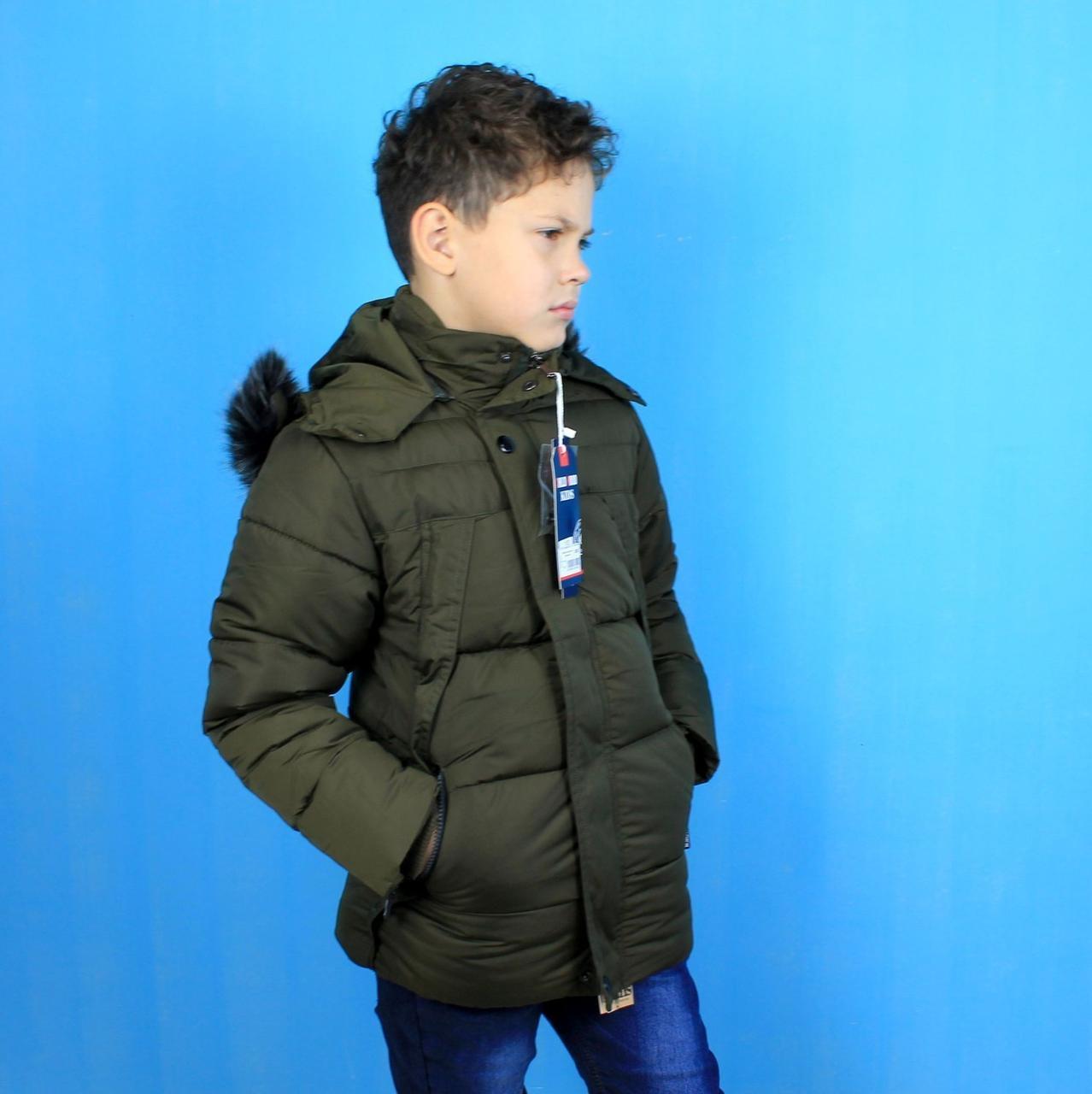 1716зел Зимняя куртка на мальчика Хаки с капюшоном и мехом тм Child Hood размер 4,10 лет