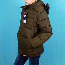 1716зел Зимняя куртка на мальчика Хаки с капюшоном и мехом тм Child Hood размер 4,10 лет, фото 2