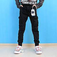 42чер Детские джоггеры для мальчика с накладными карманами черные тм S&D размер 5-6,12-13
