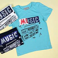 7076 Детская футболка мальчику пайетки перевертыши Musik тм Glo-Story размер 110,120 см