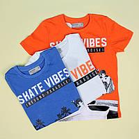7074 Детская футболка мальчику Скейт тм Glo-Story размер 160 см