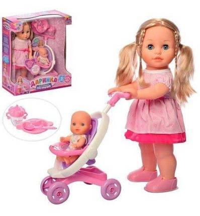 M5444 UA Кукла Даринка сестричка 41см, ходит, муз-зв(укр), пупс, коляска, посуда, на батаейках, в кор-ке, 38,5-43,5-15,5 см, фото 2