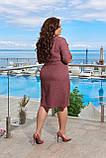 Летнее легкое льняное женское платье большого размера, короткий рукав, платье рубашка 48, 50, 52, 54, Бордо, фото 3