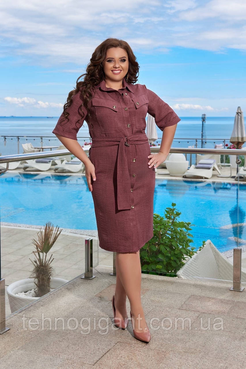 Летнее легкое льняное женское платье большого размера, короткий рукав, платье рубашка 48, 50, 52, 54, Бордо