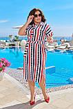 Летнее легкое женское платье большого размера, хлопок, короткий рукав, платье рубашка 50, 52, 54, 56 Полоска, фото 2