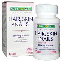 Витамины для волос, ногтей и кожи Nature's Bounty, 60 ш. Сделано в США.