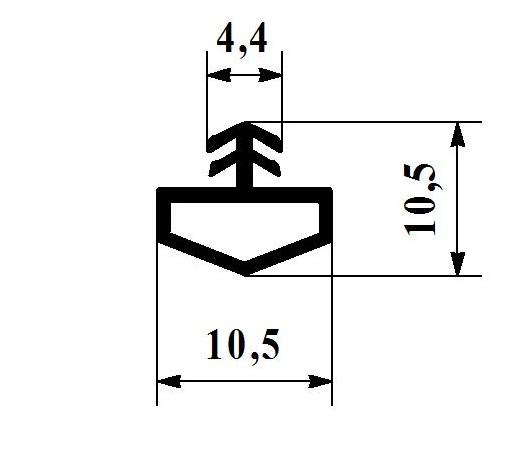 Уплотнитель для межкомнатных дверей 10мм под паз 3-4мм