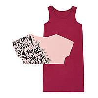 Летний комплект для девочки платье и футболка 134-164 р