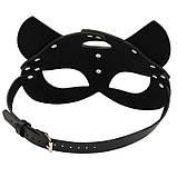 Маска кішечки + чокер нашийник з шипами, комплект. Портупея на обличчя Котячі вушка з екошкіри (чорний), фото 6