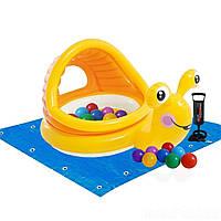 Детский надувной бассейн Intex  «Улитка» с навесом, 145 х 102 х 74 см ,подстилка, насос,шарики