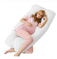 Подушка U-образная для беременных и кормления 140х70см бежевая стеганная на молнии