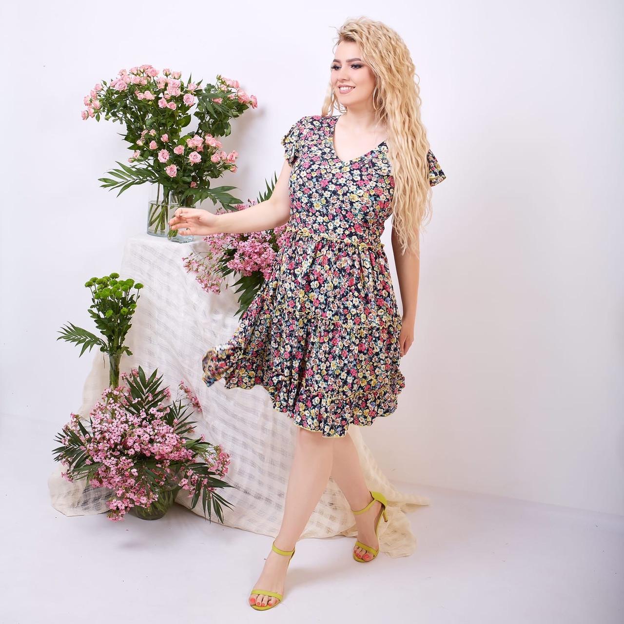 Платье летнее с пышной юбкой из натуральной ткани цветочный принт р.42-44,46-48,50-52 код 285/1Э