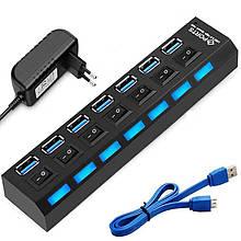 USB Hub 3.0 на 7 портов с блоком питания Fast.hub Черный (UH-19491)