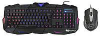 Русская проводная клавиатура + мышка UX V-100 с подсветкой Black (6945)