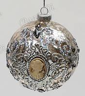 Елочные шары 6 шт. - античное серебро с камеями, 8 см