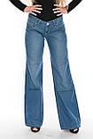 Женские джинсы клеш от бедра OM 9908-1038 синие, фото 3