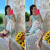 Летнее платье из органзы с цветочным декором