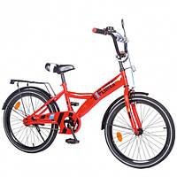 """Двухколесный велосипед для ребенка EXPLORER, 20"""" T-220114, со светоотражателями, подножкой, зеркалом, красный"""