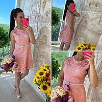 Летнее платье из розового гипюра