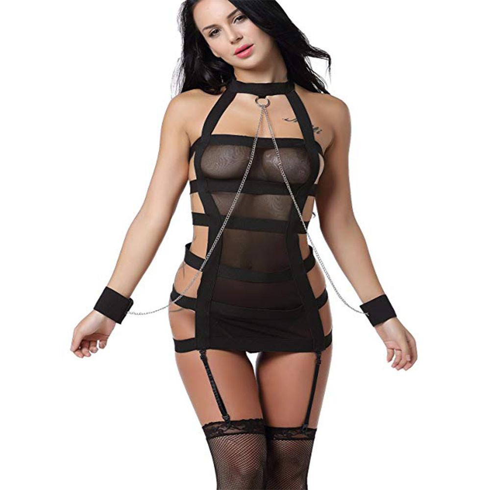 Женское эротическое платье с наручниками и цепями S Чёрный ( 120 004 )