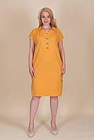 Желтое платье ЛЕН женское летнее большой размер. Опт и розница. Размер 52, 54, 56, 58, фото 1