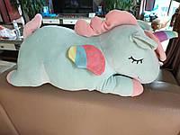 Подушка - игрушка единорог с пледом внутри 3в1 | Бирюзовый единорог с пледом |Мягкая подушка игрушка