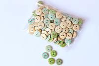 Набір круглих гудзиків Pugovichok для рукоділля і творчості 15мм в бірюзово -зелену крапку