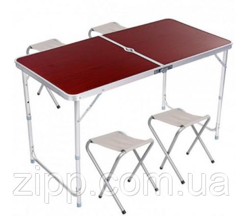 Стол алюминиевый раскладной для пикника , туризма , отдыха + 4 стула, чемодан, коричневый
