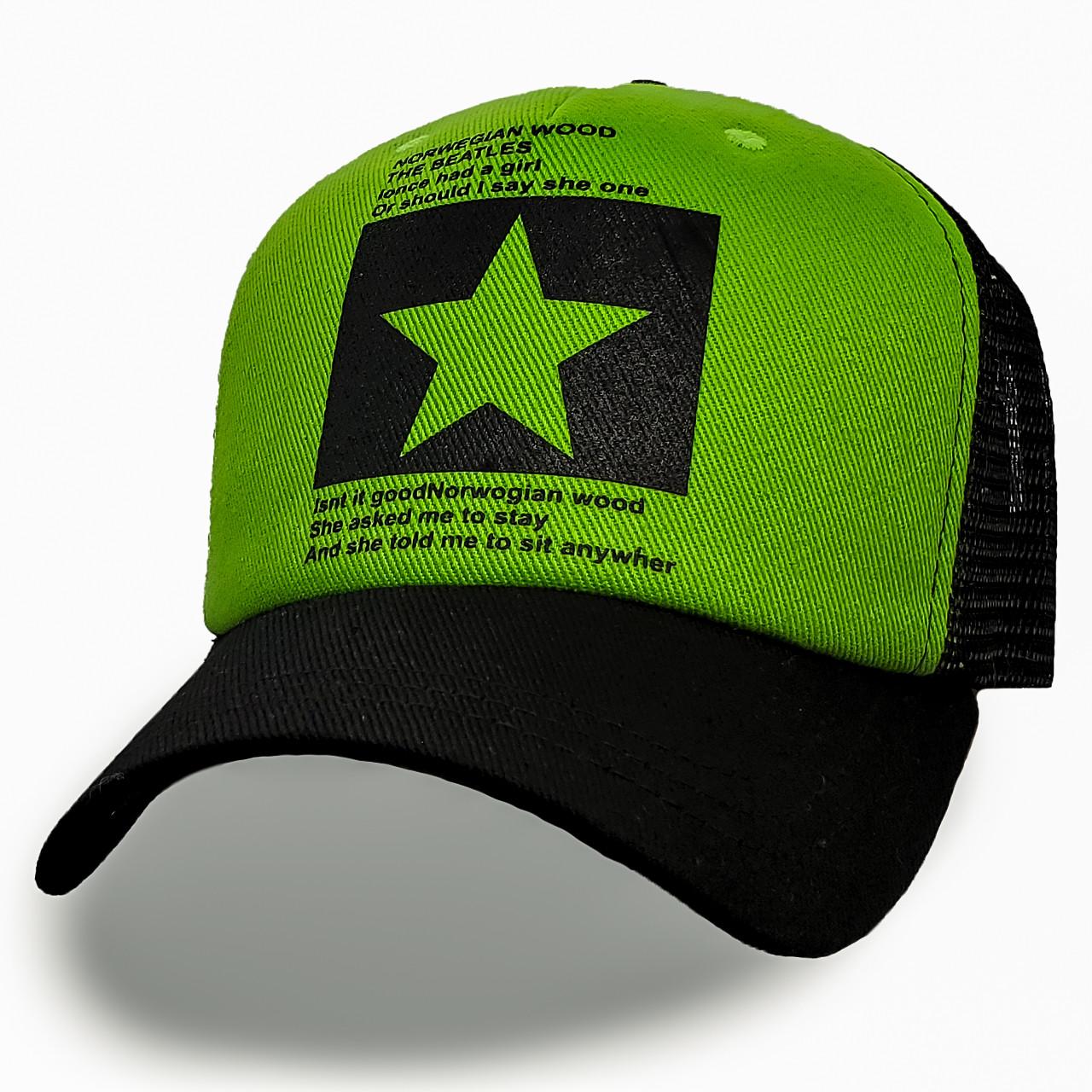 Модная летняя кепка Street Star ✫ The Beatles (зелено-черная) Тракер звезда