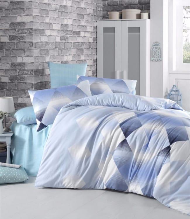 Комплект постельного белья Elena Евро ранфорс голубой арт.Petek
