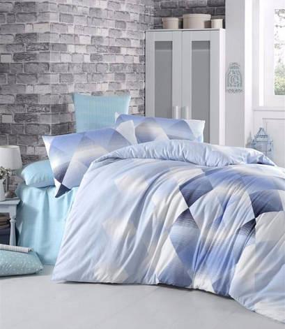 Комплект постельного белья Elena Евро ранфорс голубой арт.Petek, фото 2