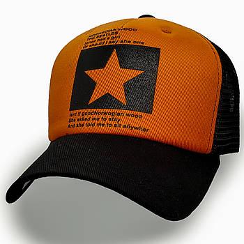 Модная летняя кепка Street Star ✫ The Beatles (зелено-черная) Тракер звезда черно-оранжевый